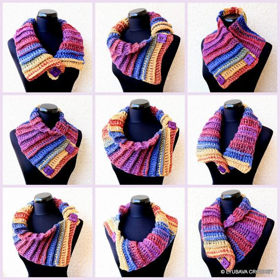 Crochet Scarf PATTERN, Multicolor Scarf Two Buttons, DIY Scarf ...