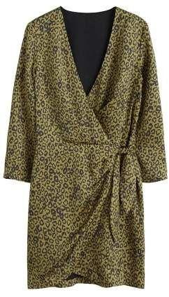 328ce9987111ed MANGO Leopard print wrap dress in 2019   Products   Wrap dress ...