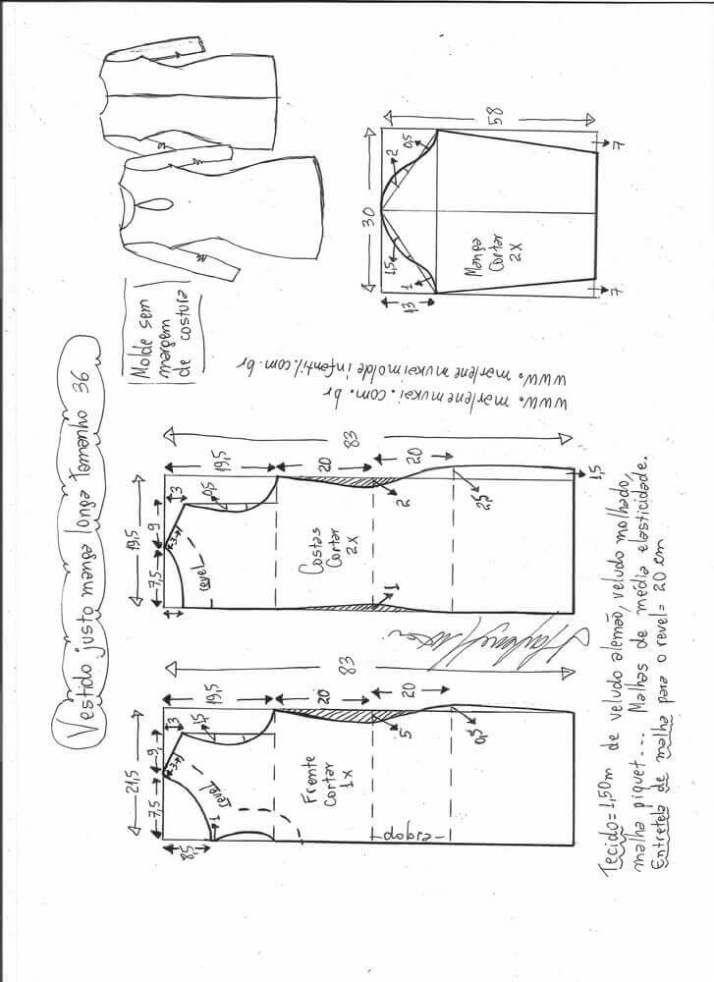 Patrón vestido ajustado de manga larga | Patrones de costura ...