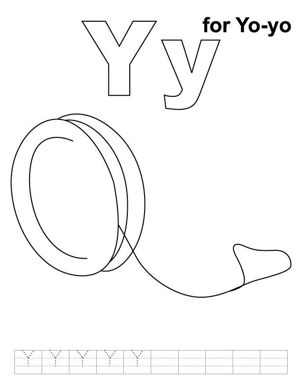 Y Is For Yo Yo Coloring Page School Coloring Pages Kids