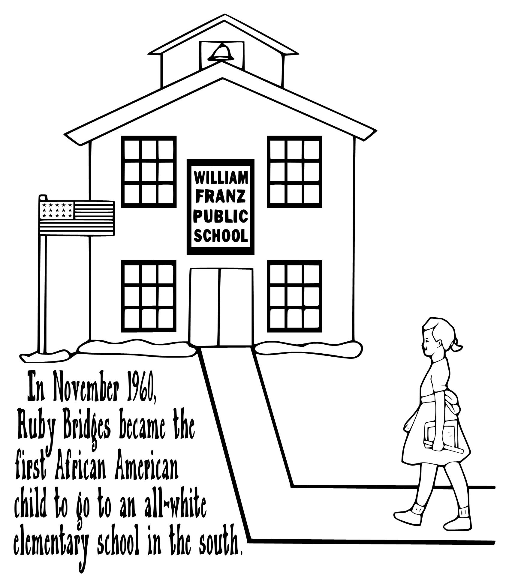 worksheet Ruby Bridges Worksheets For Second Grade ruby bridges coloring page kid projects pinterest page