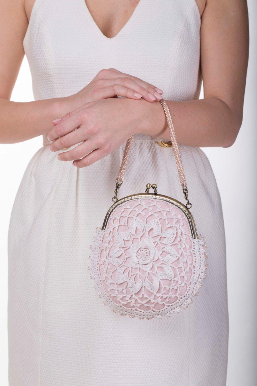 Wedding purse, bridesmaids purse, white lace purse, Bead Crochet ...