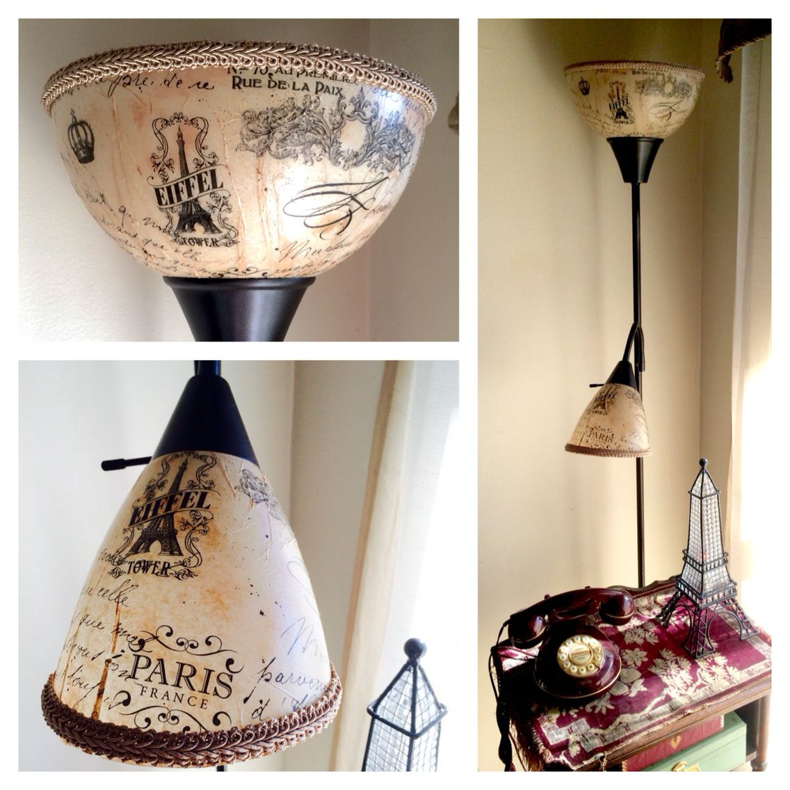 Inexpensive Floor Lamp With White Plastic Shades Transformed With