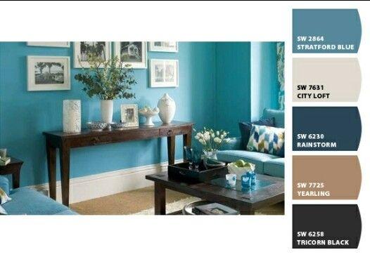 Azul Turquesa Con Cafe Y Blanco Colores De Interiores Decoracion En Turquesa Decoracion De Interiores Salas