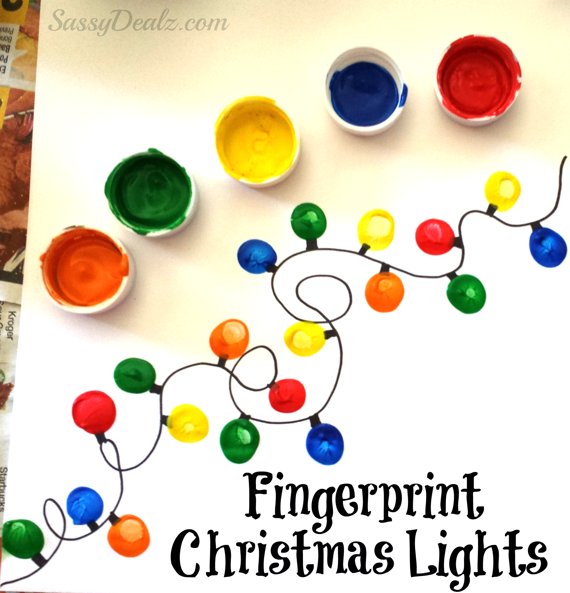 Paper Craft Christmas Card Ideas Part - 42: Fingerprint Christmas Light Craft For Kids (DIY Christmas Card Idea!) |  CraftyMorning.