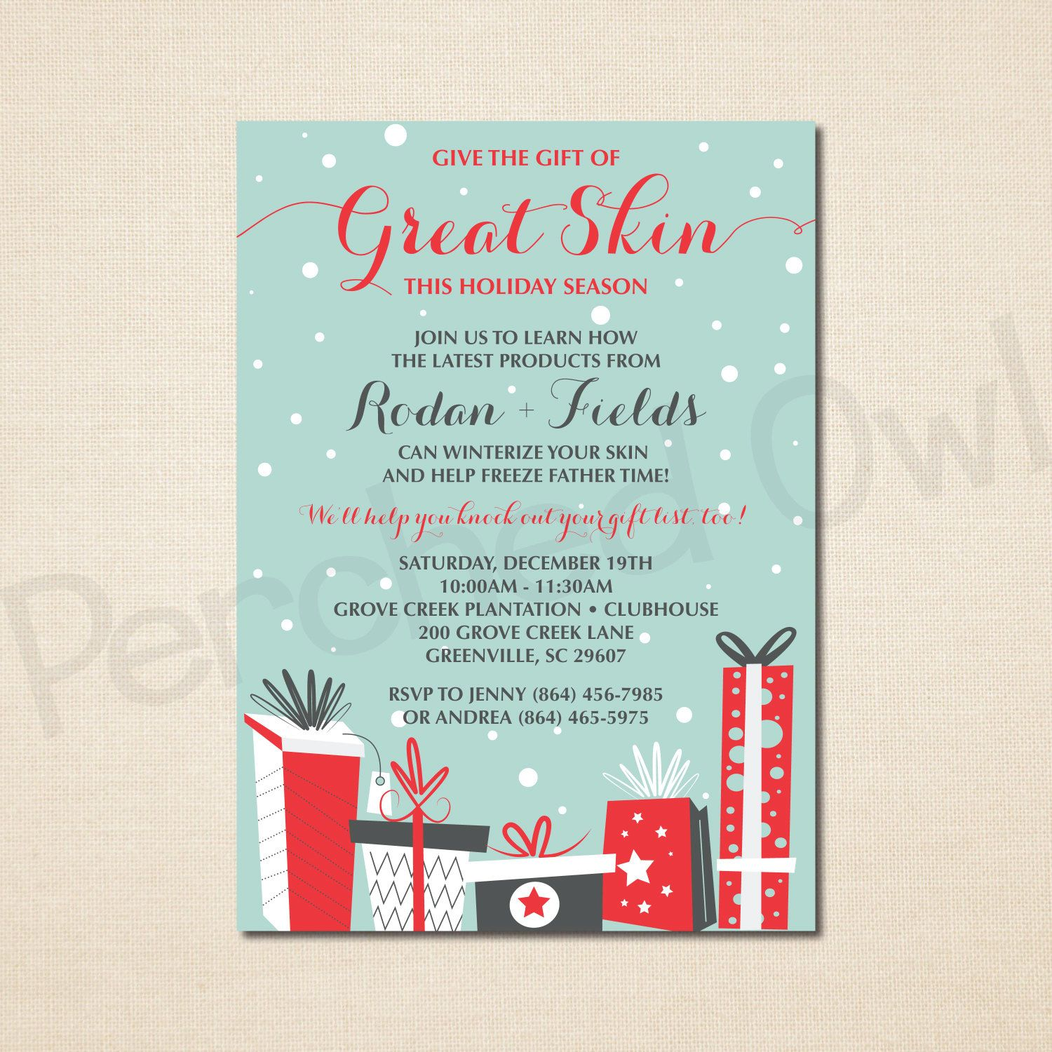 Give the Gift of Great Skin Invitation - Direct Selling - Business ...