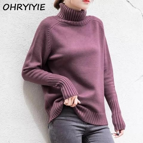 1a47e6b6c2c OHRYIYIE Autumn and Winter Women Turtleneck Sweater Pullover Thick Warm  Women s Basic Sweaters Knitted Pullovers Jumper Femme