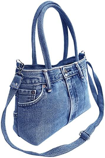 Photo of BDJ Classic Blue Denim Jean Pants Women Top Handle Handbag Purse (3CH-012)