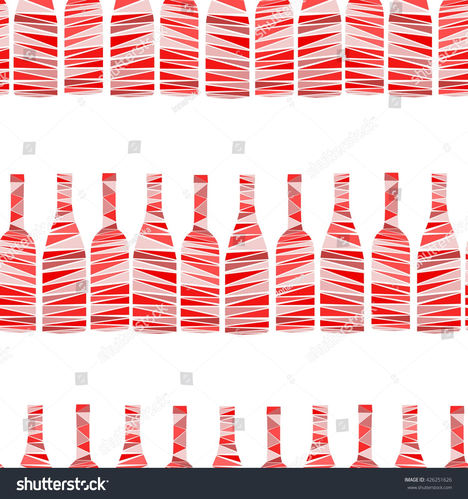 Seamless Pattern Of Wine Bottles On White Background Mosaic Art Of Bottles In Simple Geometric Style Creative Vector I In 2020 Mosaic Art Creative Seamless Patterns