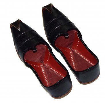 Black Pure Leather Punjabi Jutti Khussa