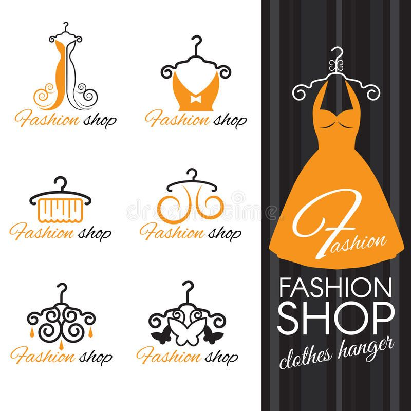 Fashion Shop Logo Orange Clothes Hanger And Dress And Butterfly Royalty Free Illustration In 2020 Shop Logo Orange Outfit Shop Logo Design