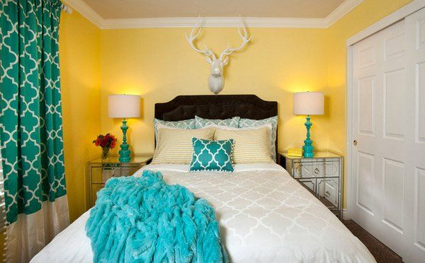 15 Gorgeous Grey, Turquoise and Yellow Bedroom Designs images