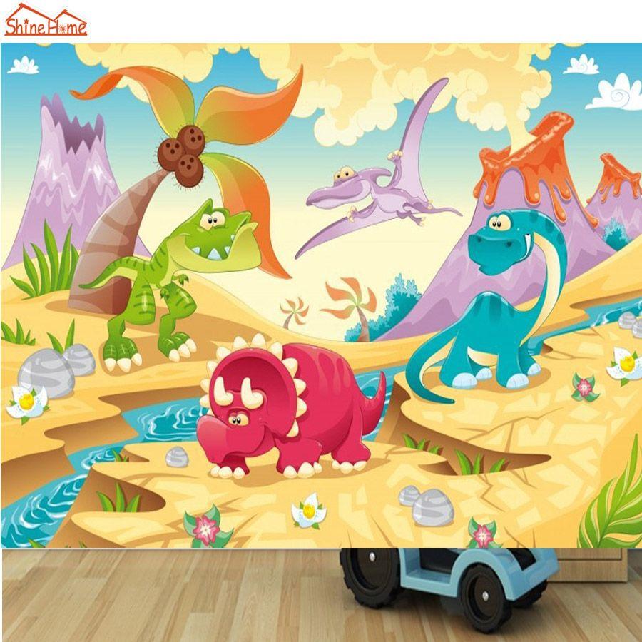 ShineHome-DIY Cartoon Cute Dinosaur Animals Mural Rolls Wall Paper ...