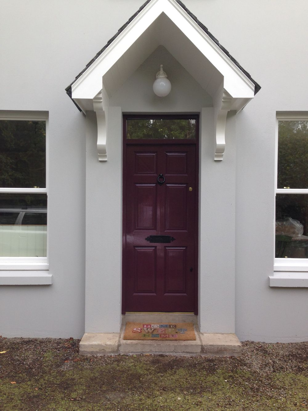 farrow ball pavilion grey with brinjal front door - Farrow And Ball Brinjal