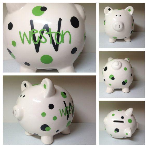 Ceramic Piggy Bank as described Nursery Decor Keepsake Toy,Savings Money Banks Coins Banking for Kids Perfecdt Gift Large Enough Medium-Blue