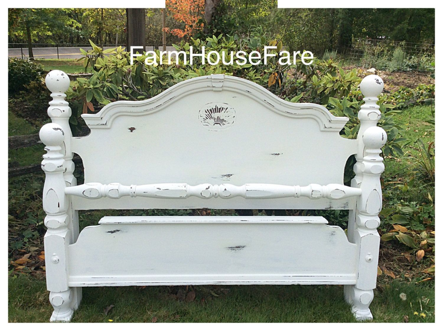 Large Ornate Queen/Full Size Bed Frame White Rustic
