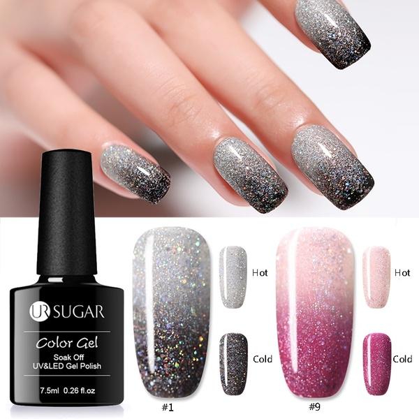 Ur Sugar 7 5ml New Magic Temperature Color Changing Nail Gel Holographic Glitter Soak Off Uv Gel Diy Manicure Th Color Changing Nails Gel Nail Polish Gel Nails
