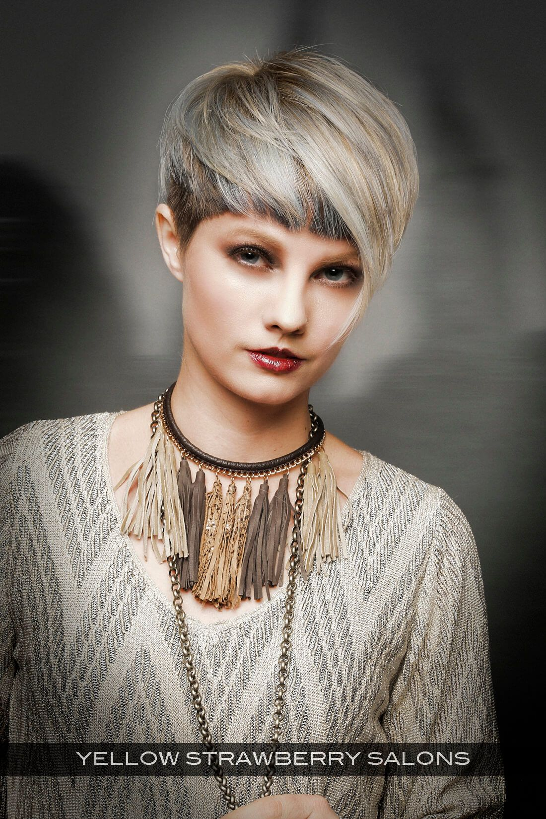 Cropped hairstyle with halo fringe avant garde cut colour
