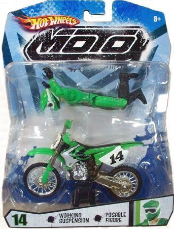 Hot Wheels Green And Black Moto 14 Motorcycle With Rider Action