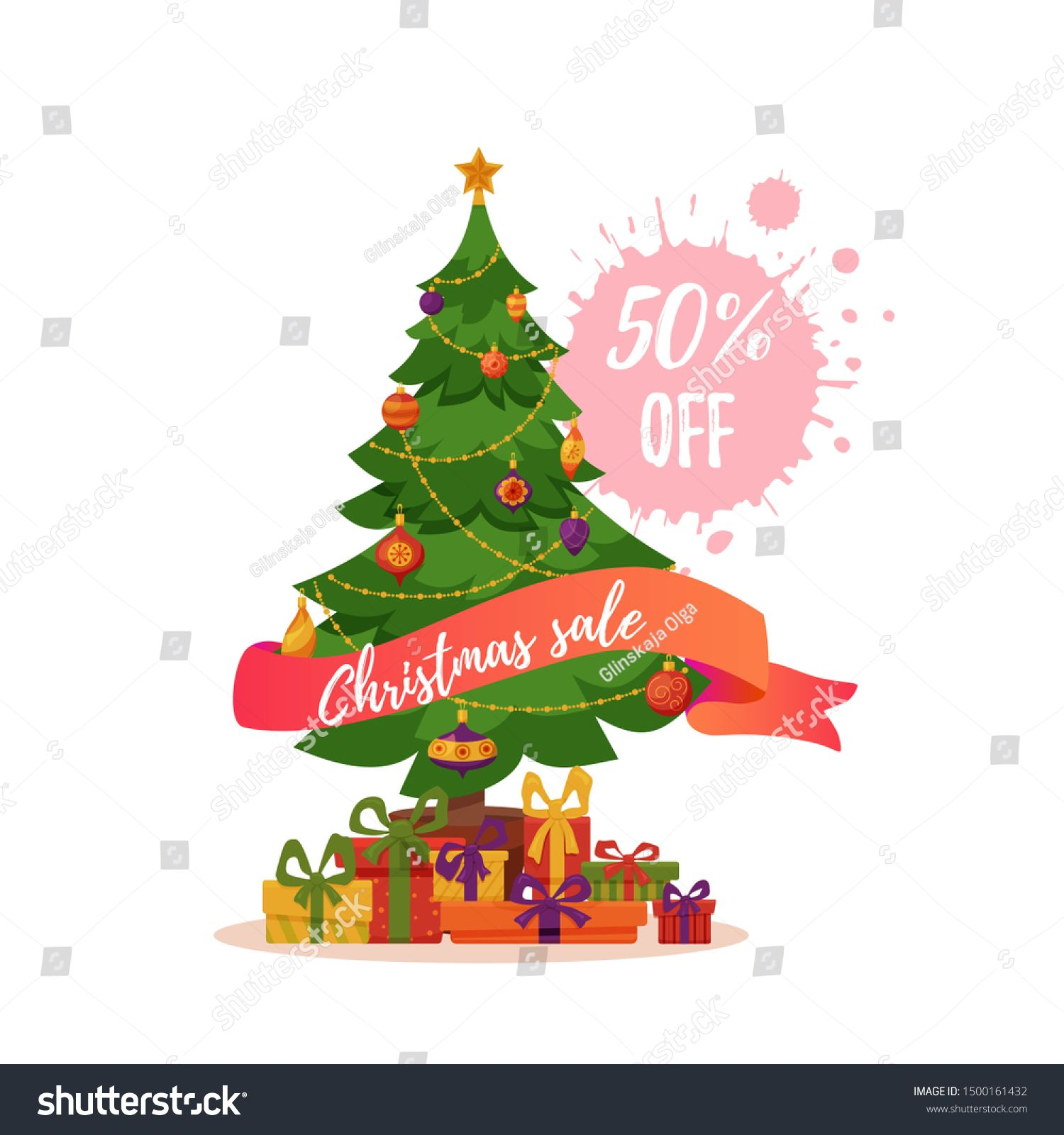 Christmas Tree Decorated Illustration Star Decoration Balls And Gift Boxes Sale Concept In Color Christmas Tree Decorations Tree Decorations Star Decorations