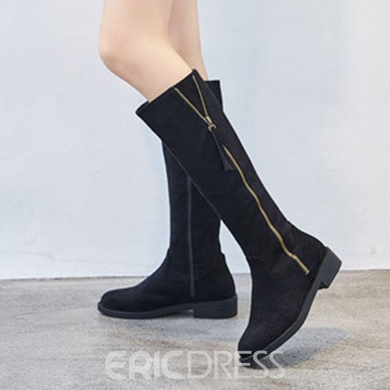 2a426479bceb Fringe Side Zipper Block Heel Knee High Boots | Jimmy Choo | Knee ...