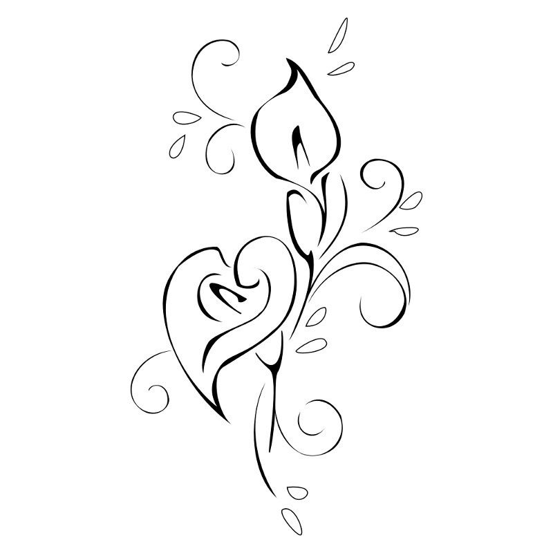 Water Lily Stencil Black And White: Calla Lily Tattoos, Lily Tattoo