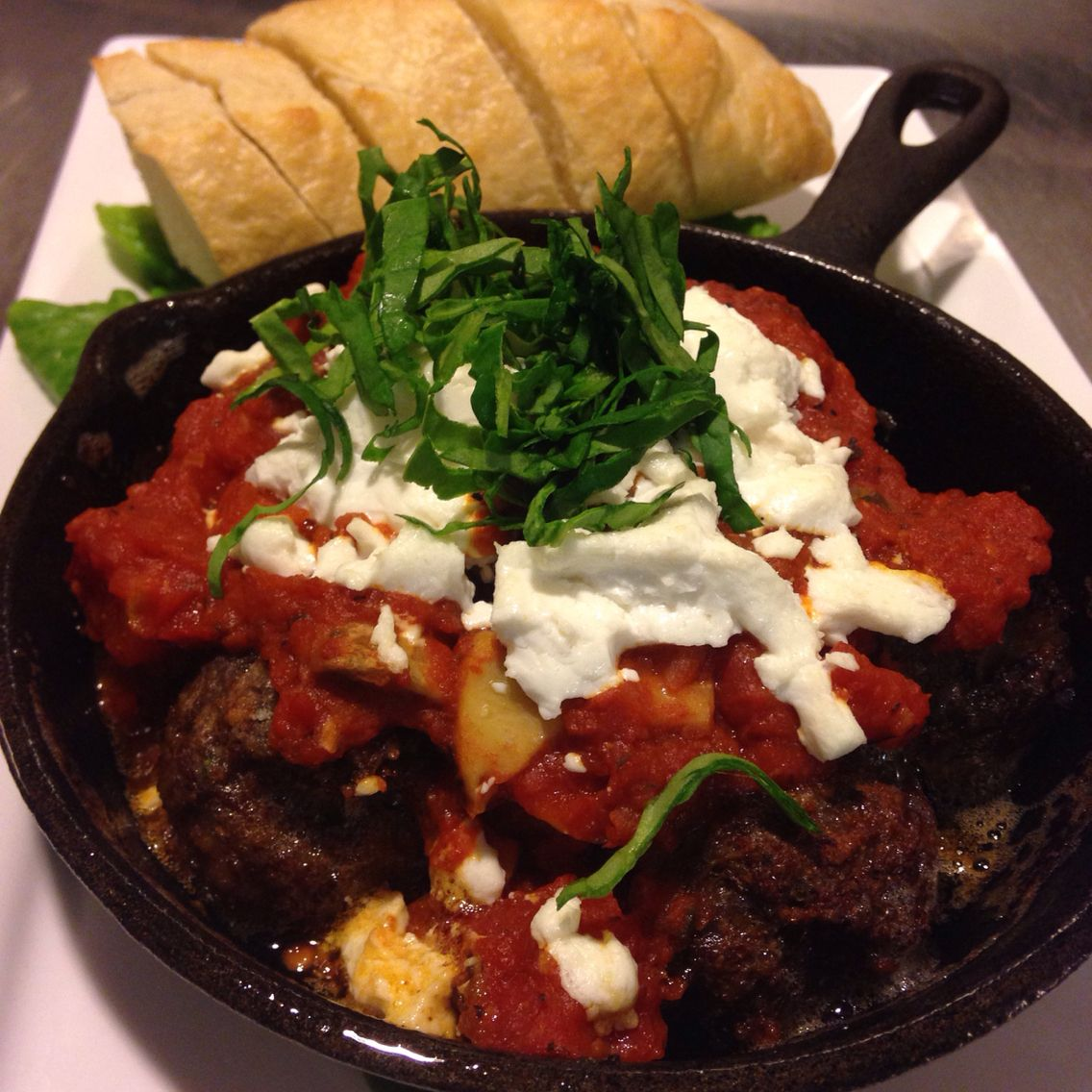 Meatballs w goats cheese and baguette plus marinara