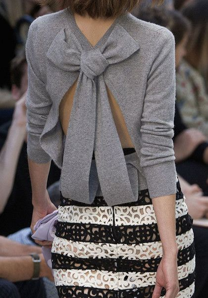 Cutout Back Knit Blouse - Cutout Detailing At Back