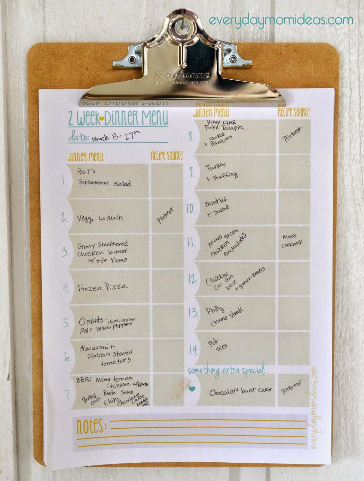 two week menu planner
