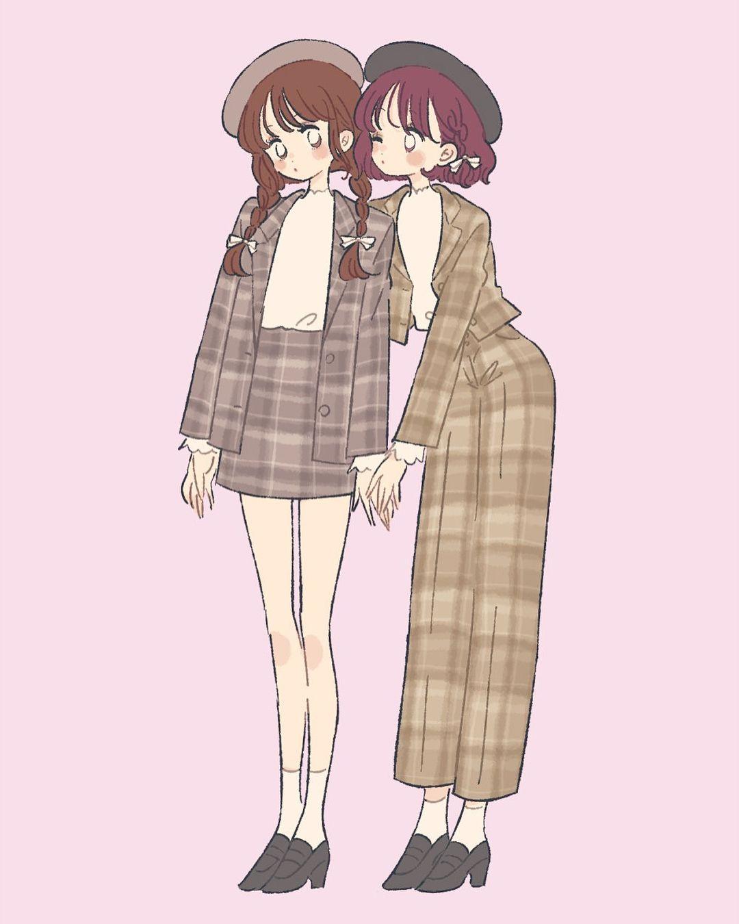 チェック双子コーデ イラスト illustration ファッション