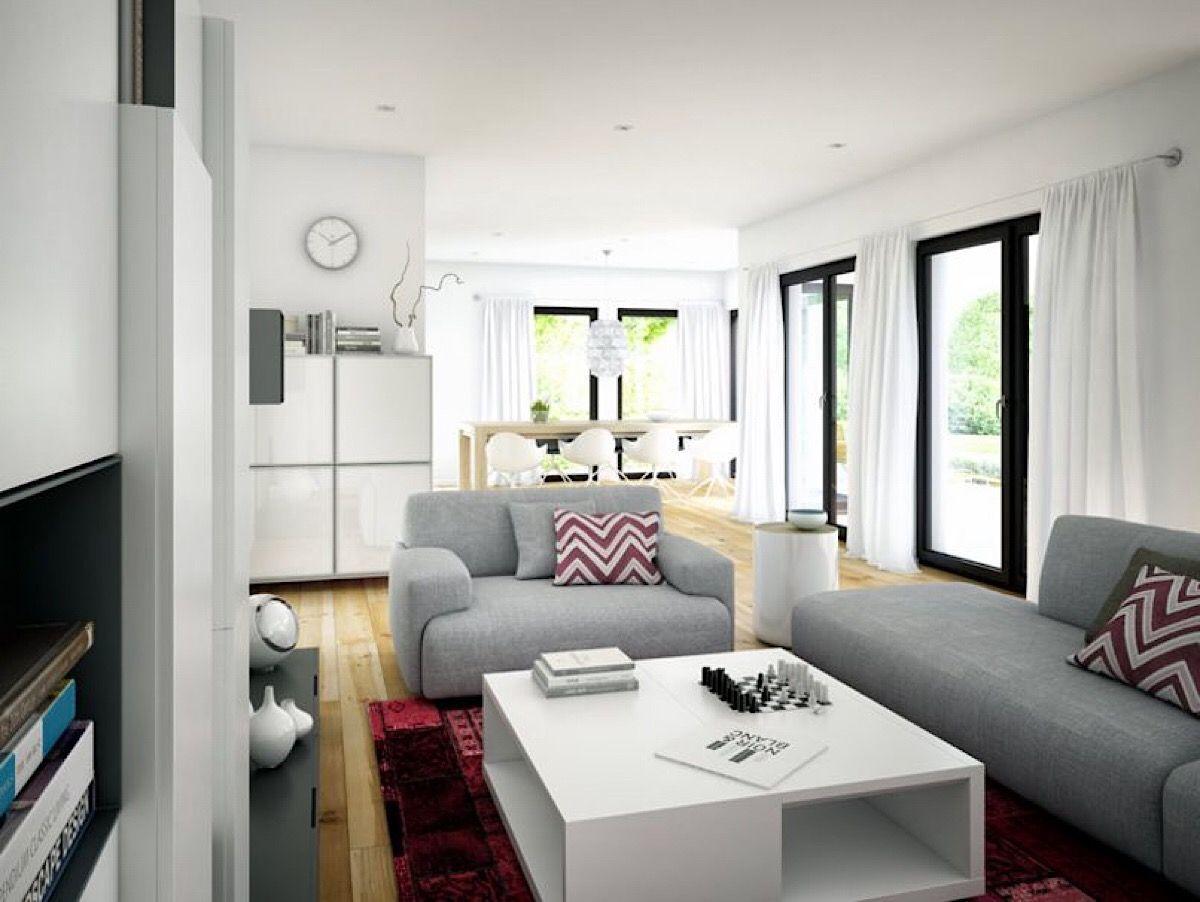 Modernes Wohnzimmer mit Essbereich Fertighaus Stadtvilla