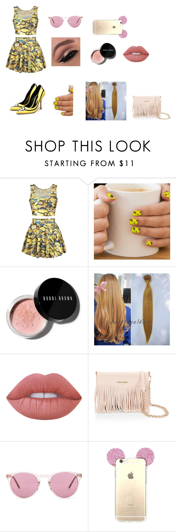 """""""minion style"""" by sarah4ever123 ❤ liked on Polyvore featuring Bobbi Brown Cosmetics, Lime Crime, Rebecca Minkoff and Oliver Peoples"""