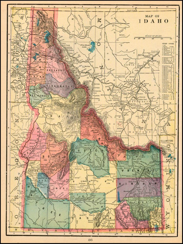 Map Of Idaho | Map of Idaho - Barry Lawrence Ruderman Antique Maps ...