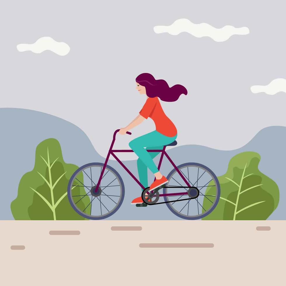 Riding A Bike Vector Illustration Cycling Art Illustrations Posters Bike Illustration Bike Ride
