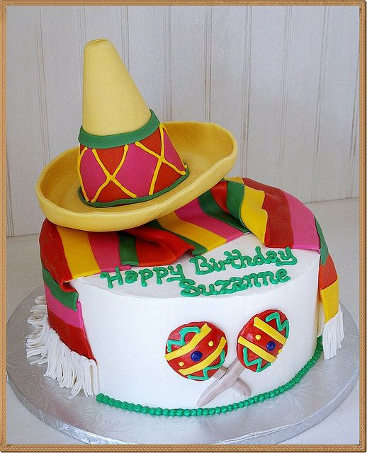 Strange Mexican Sombrero Themed Fondant Decor Birthday Cake Flickr Photo Birthday Cards Printable Benkemecafe Filternl