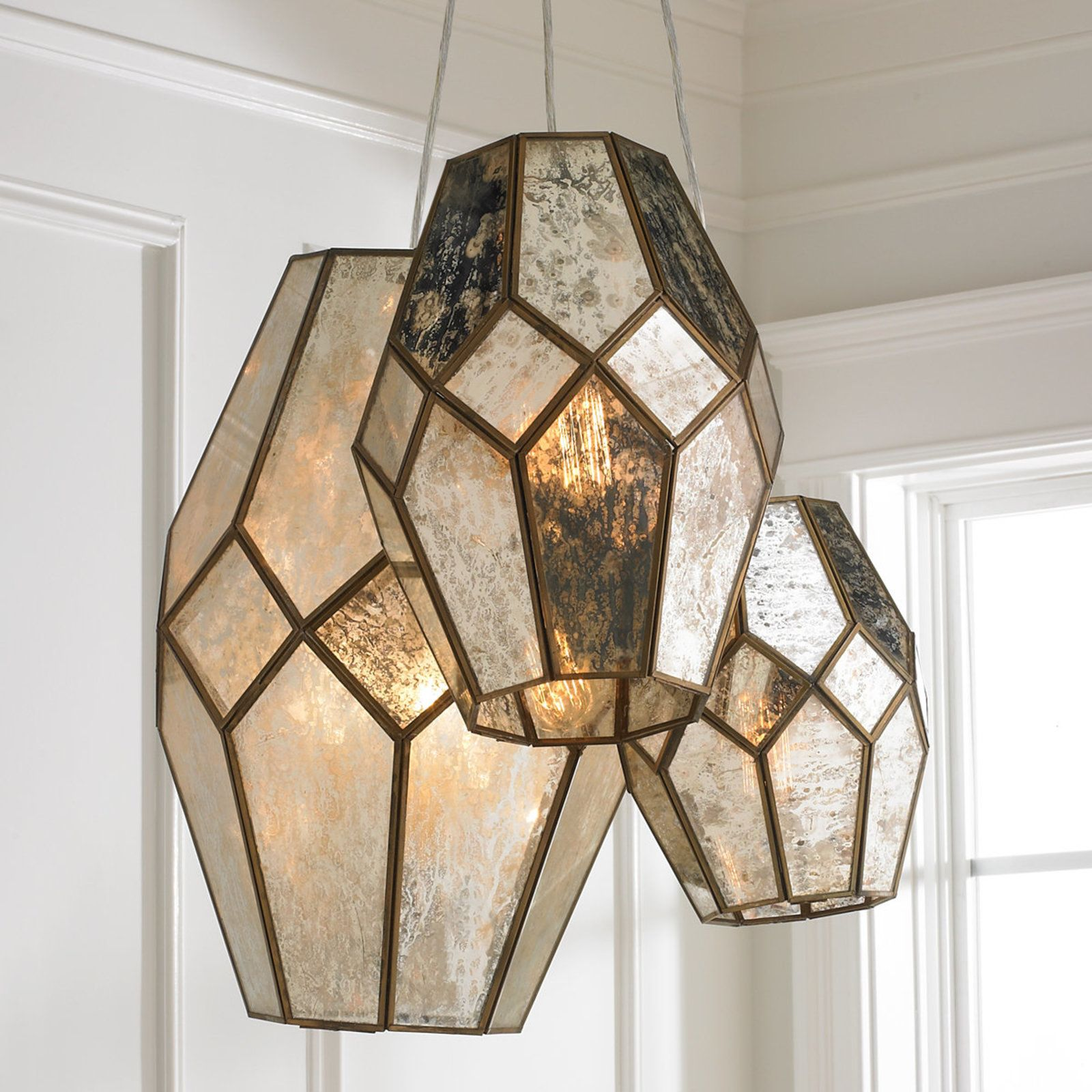 Young House Love Mercury Glass Prism Chandelier bronze