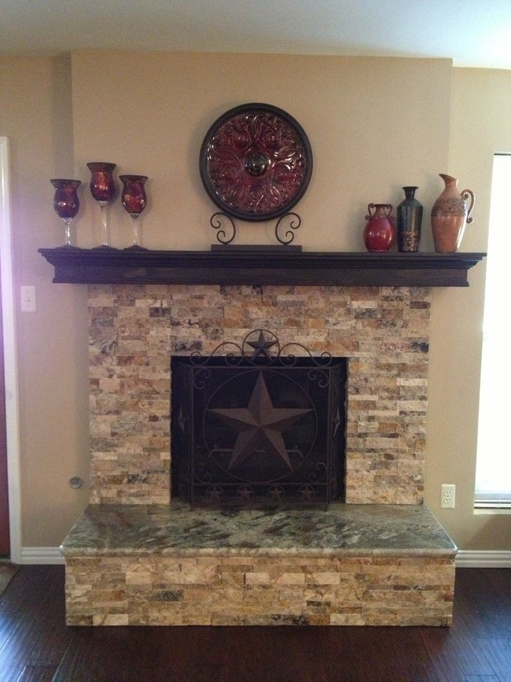 Stacked Stone Fireplace | Stacked stone fireplace with granite hearth. |  For the Home - White Painted Stone & Shiplap Fireplace Makeover Mantels