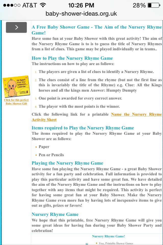 Nursery Rhyme Game For Baby Shower Http Www Baby Shower Ideas Org
