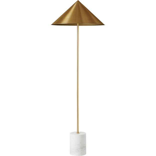 Umbrella Marble Base Brass Cone Floor Lamp Reviews Cb2 In 2020 Cone Floor Lamp Floor Lamp Simple Floor Lamp