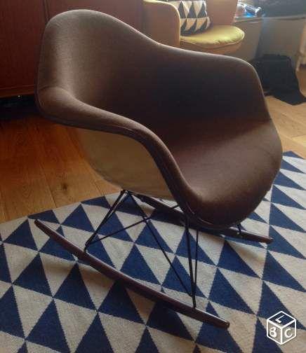 fauteuil eames marron à bascule rar vintage | mobilier | pinterest ... - Chaise A Bascule Eames 2