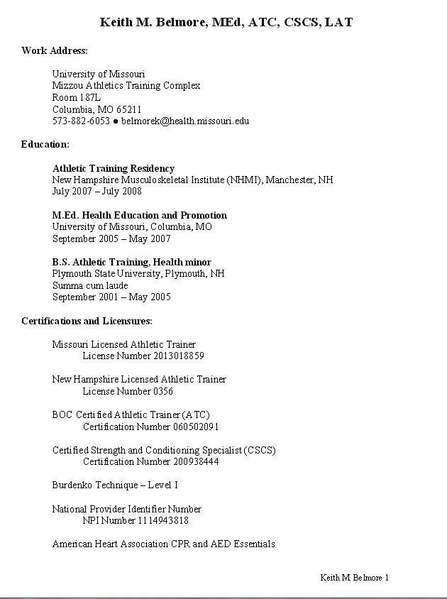 Pin by Ali Harris on Athletic Training Pinterest Sample resume