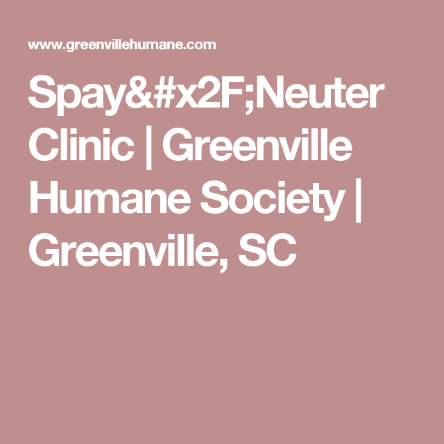 Spay Neuter Clinic Greenville Humane Society Greenville Sc