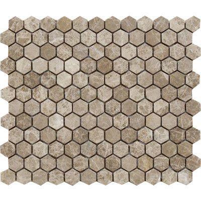 "Parvatile Emperador Tumbled Hexagon 1"" x 1"" Stone Mosaic Tile in Light"