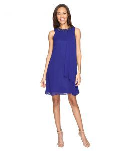 Vince Camuto Short Chiffon Dress with Side Pleat (Royal) Women's Dress