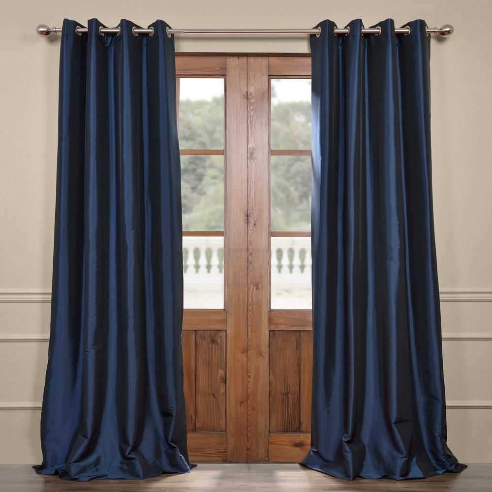 Exclusive Fabrics Furnishings Navy Blue Grommet Blackout Faux