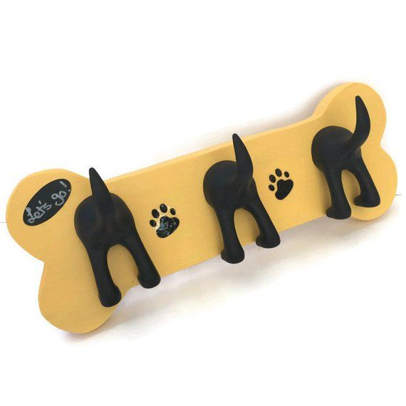 Triple Tail Dog Leash Holder On Hand Made Wooden Bone With