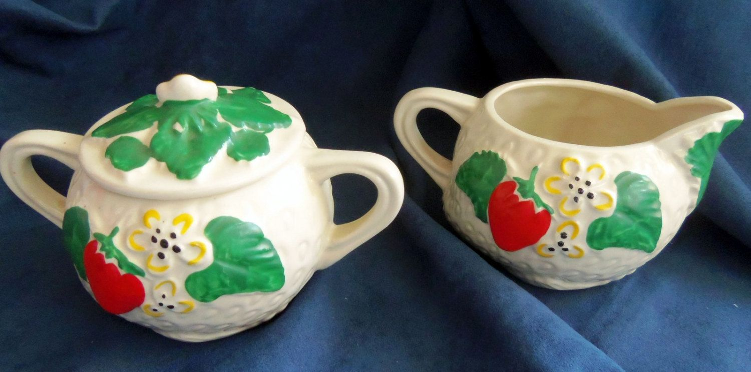 Cute Little Strawberry Cream and Sugar, Vintage Mid Century by HeronBlueVintage on Etsy