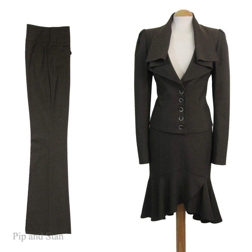Uk12 10 Us8 6 Next 3 Piece Jacket Skirt Trouser Suit 40s 50s Womens