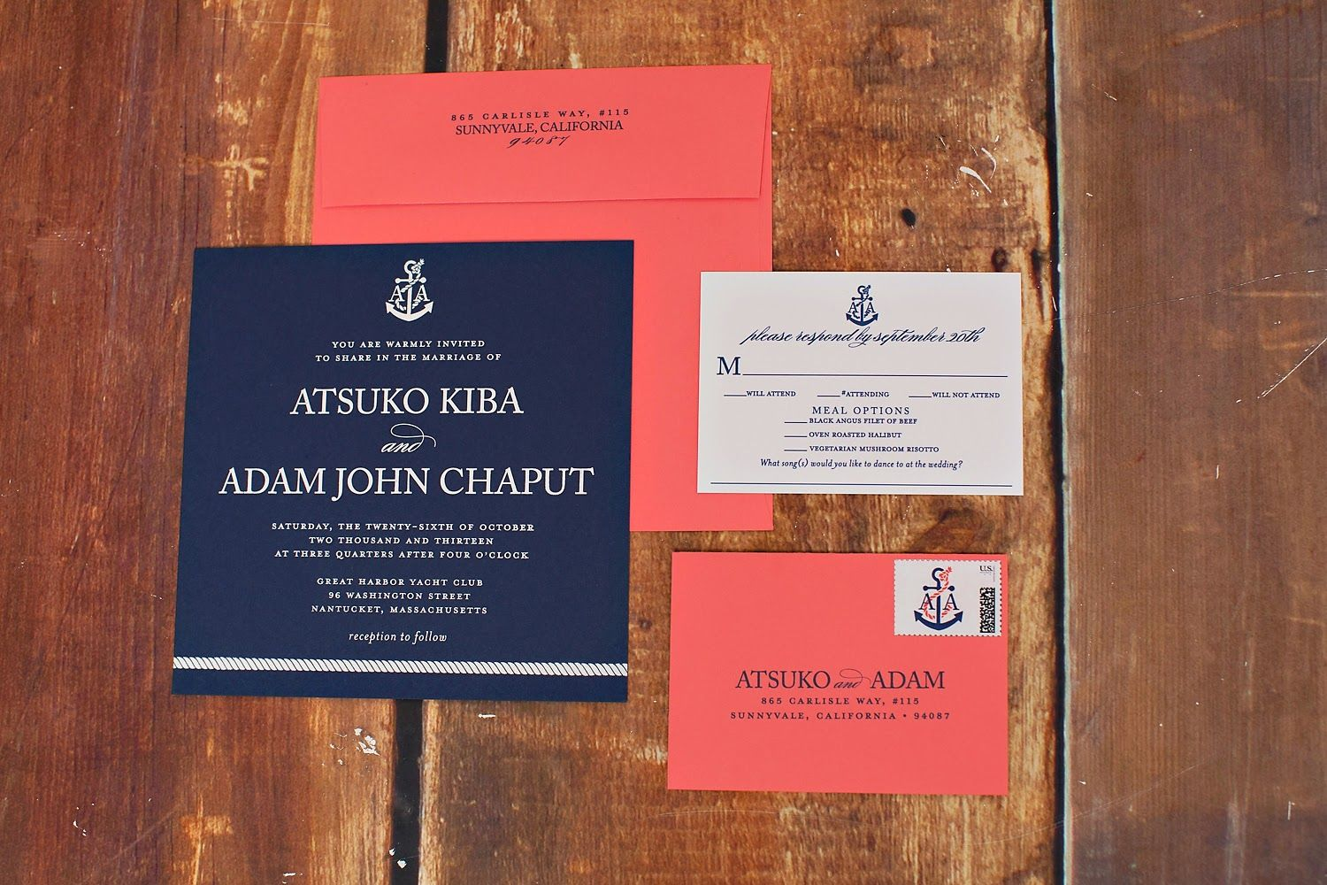 Coral and navy, and perfectly nautical #monogrammed #wedding ...