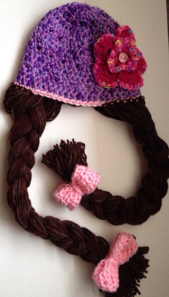 Rapunzel Princess Hat  Purple brown braids by WillowHillKidsToo, $25.00